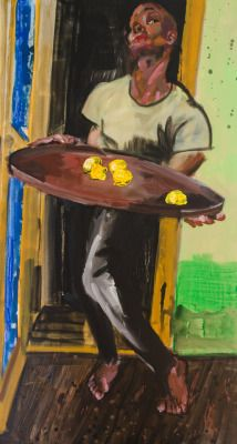 Rainer Fetting (German, b. 1949), Here are the Lemons (Desmond Cadogan), 2015. Oil and acrylic on canvas, 240 x 130 cm.