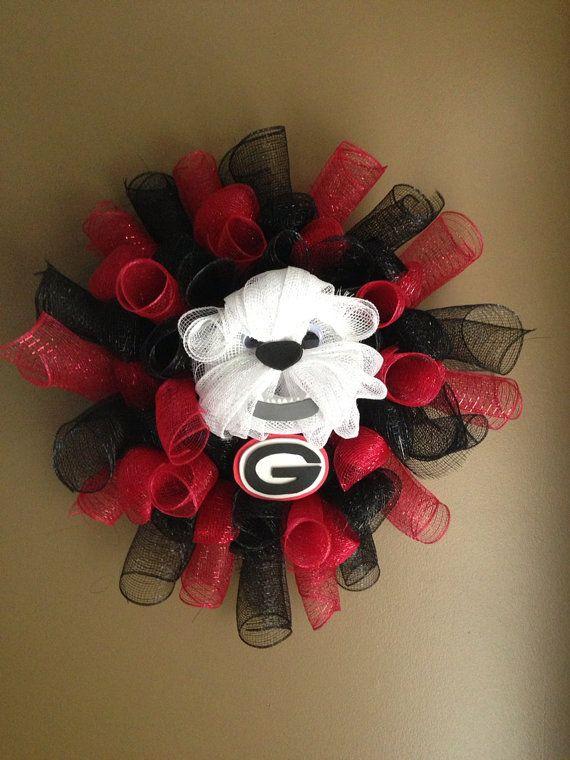 Georgia Bulldog Mesh Wreath by JustAdoorItWreaths on Etsy, $50.00