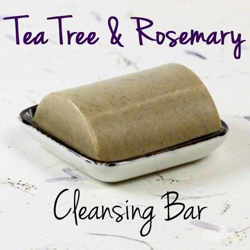 Tea tree & Rosemary cleansing bar for oily skin. Melt & Pour