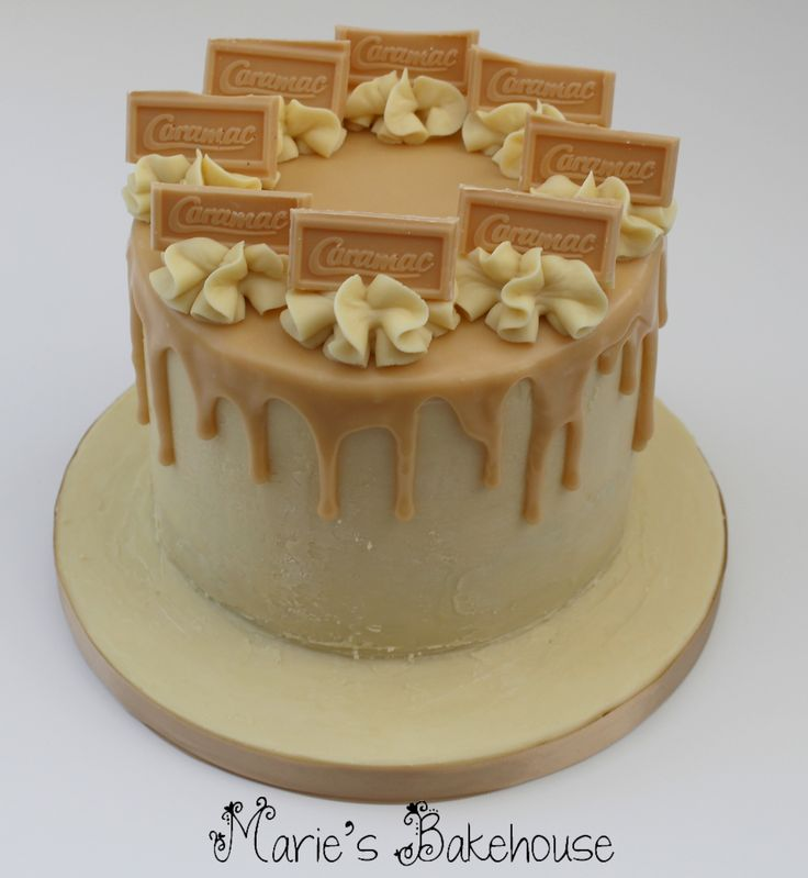 Caramac drippy cake with caramac and white chocolate ganache www.facebook.com/MariesBakehouse www.mariesbakehouse.co.uk