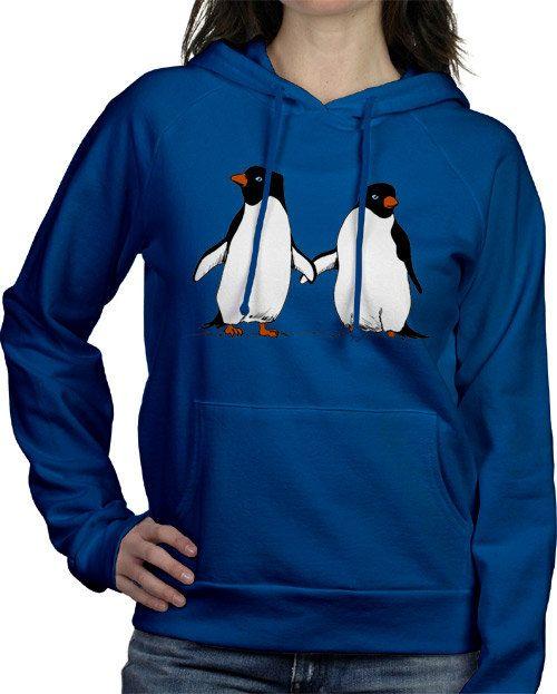 Penguin Lovers Hooded Sweatshirt Unisex Sizes XS3X by exbf, $42.00