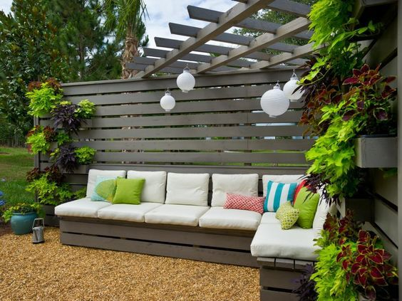 The Going Yard team designed outdoor seating with built-in benches and stylish all-weather cushions.
