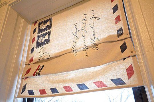 vintage envelope window treatments. neat.: Curtains, Idea, Envelopes, Window Shades, Faux Romans Shades, Window Treatments, Diy, Letters, Drop Clothing