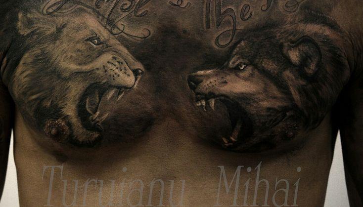 A doua sesiune. Scrisul de sus nu este fact de mine :) #tattoolion #tattoowolf #greywshtattoo #tattoobucharest #originaltattoodesign #tatuajleu #turuianumihai #fusionink #critical #cheyenne