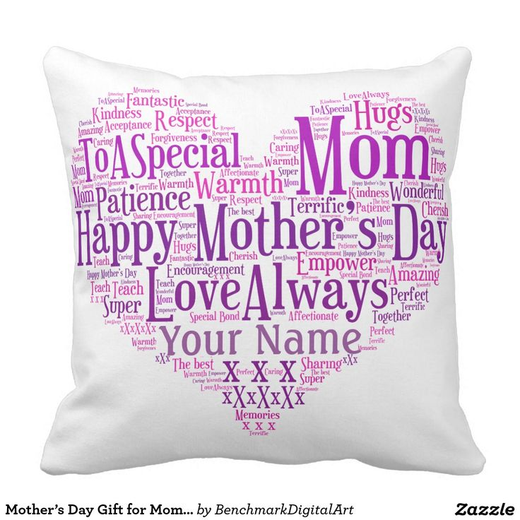 Mother's Day Gift for Mom Typography Heart Cushion Pillow