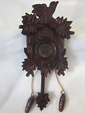 Vintage Dollhouse Ornate Concord Museum Miniature Wooden Cuckoo Clock in Box