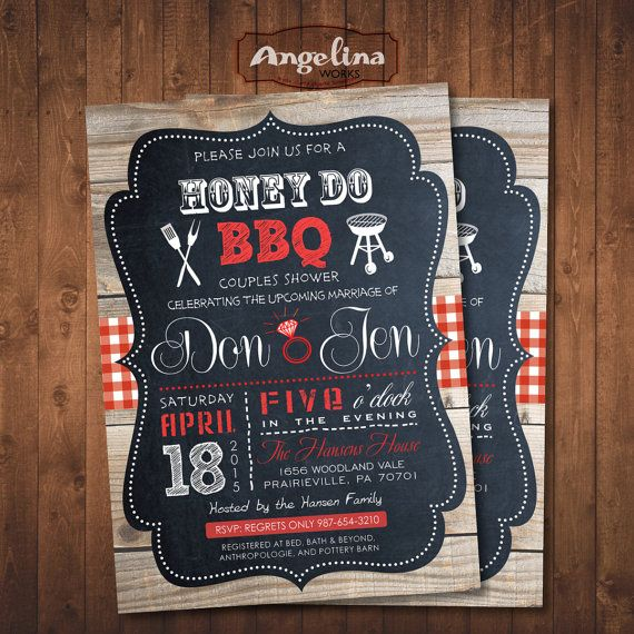 Honey Do Shower Invitation. Couples BBQ. Digital by AngelinaWorks                                                                                                                            More