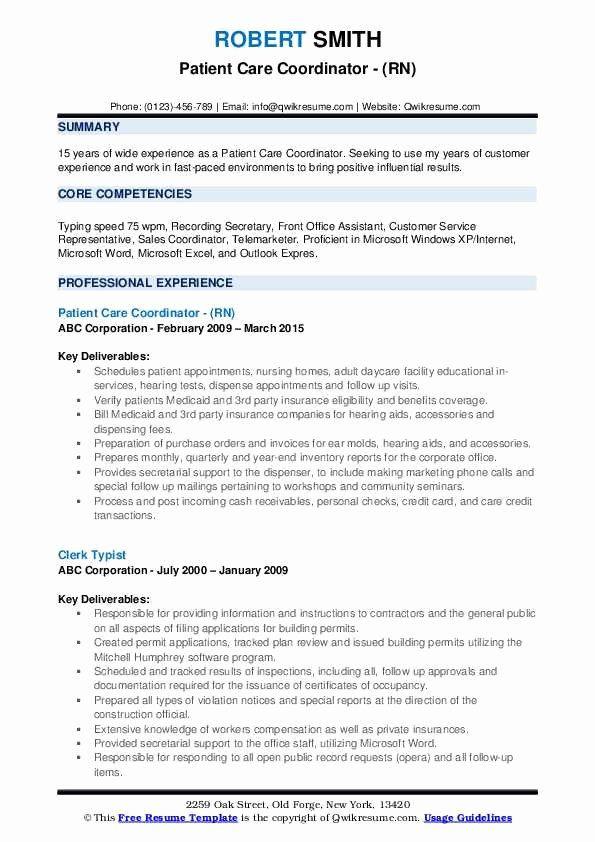 Patient Care Coordinator Job Description Resume Beautiful Patient Care Coordinator Resume Sample In 2020 Patient Care Assistant Patient Care Coordinator Assistant Jobs