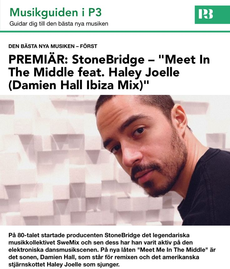 Yep, National Radio P3 in Sweden knows what time it is - MEET IN THE MIDDLE (Damien Hall Ibiza Mix) featured! http://smarturl.it/MITMstores #stonebridge #haleyjoelle #damienhall #MITM #stoneyboymusic #house #ibiza #p3