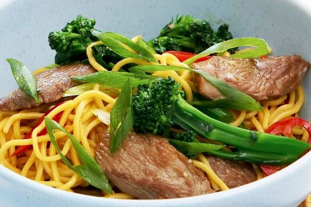 Strips of succulent lamb pieces are stir fried with broccoli to create a well-balanced meal.