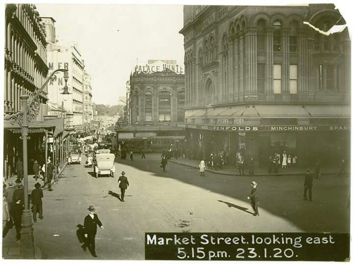 Market St,Sydney,looking east in 1920.Photo from State Records of NSW.A♥W