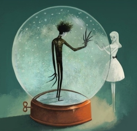 how edward scissors hands reflects tim Tim burton's inspiration sources from german expressionism, edward scissorhands being a clear cut example where the hurtful reality plays a major role in the film, with the effective use of camera angles and shots.