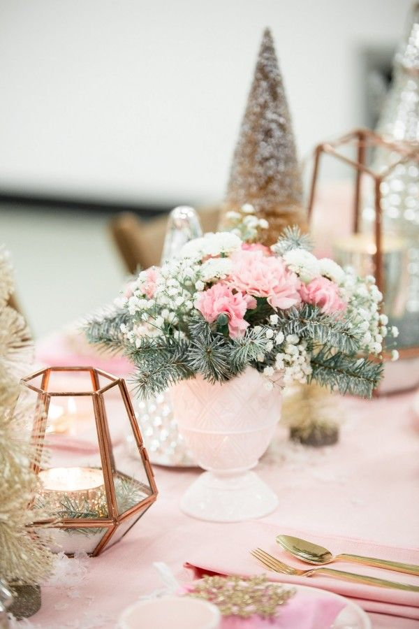 winter wonderland wedding table ideas%0A Pastel Pink Christmas Tablescape