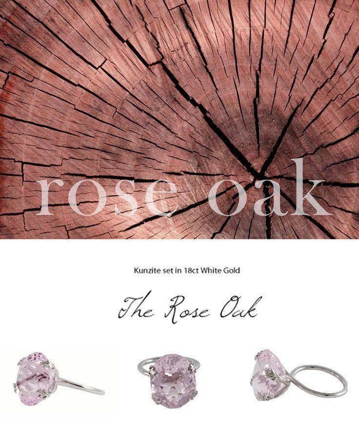 The Rose Oak - Kunzite set in 18K White Gold