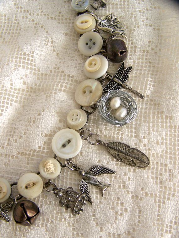 Handmade Button Charm Bracelet Vintage Button Bracelet by QueenBe, $36.50