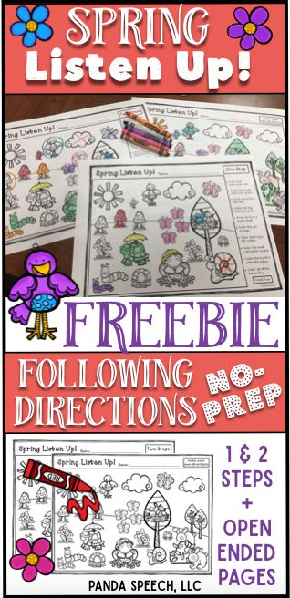 Free spring themed following directions activity! Great activity for spring speech therapy!
