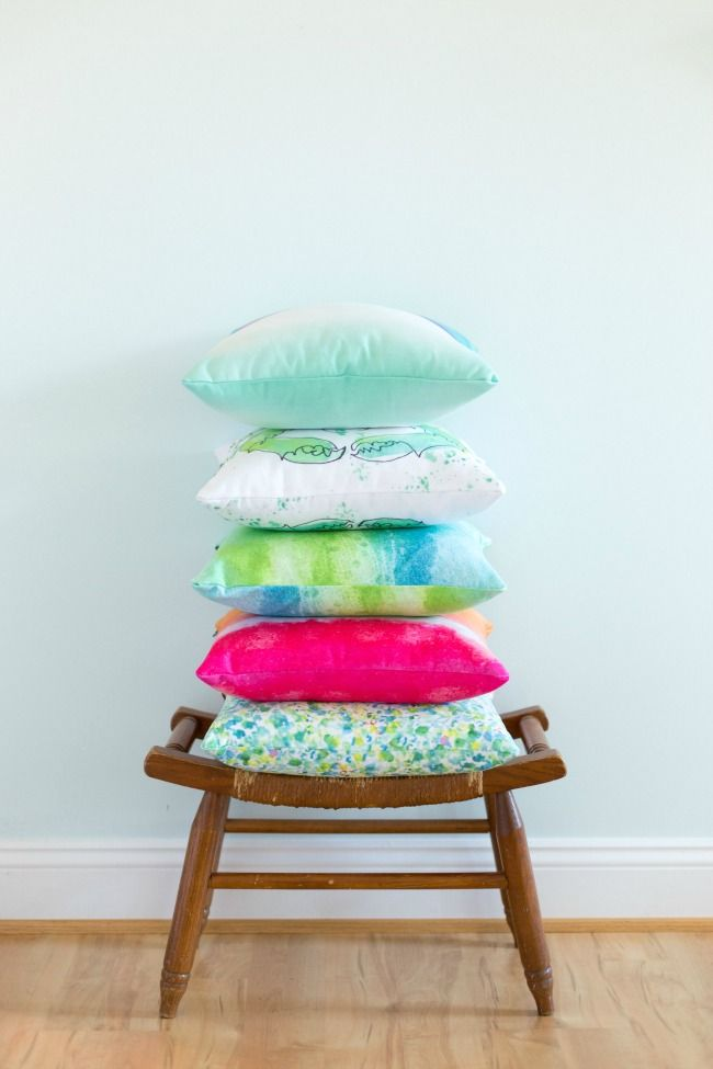 brighten up with colorful throw pillows