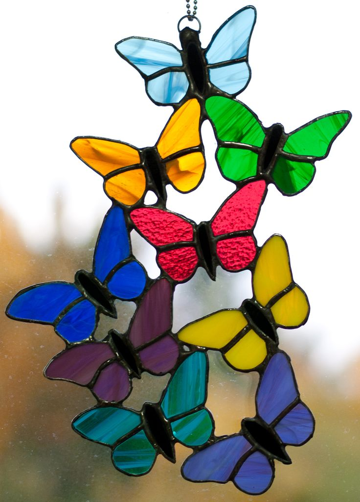 Stained Glass Butterflies. I LOVE this!!! I would LOVE one with all autumn/neutral colours...