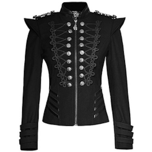 Women Black Double Breasted Gothic Military Dress Jacket SKU-11401051