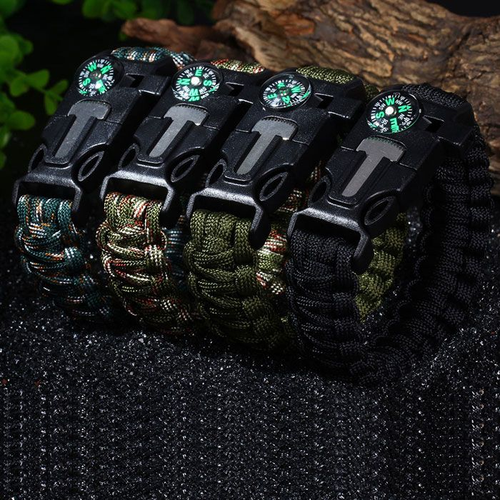 5 in 1 Outdoor Survival Gear Escape Paracord Bracelet Flint / Whistle / Compass / Scraper | TwinkleDeals.com