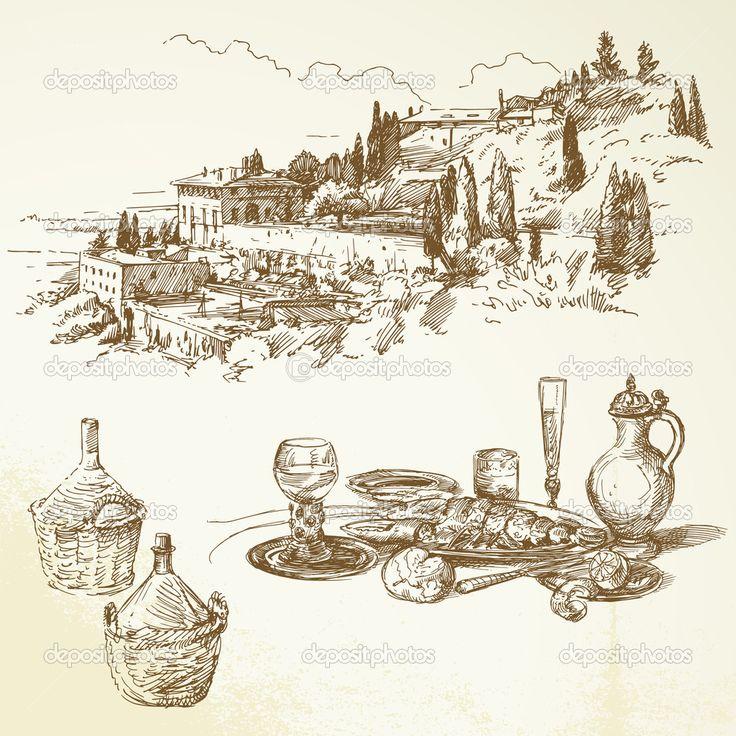 Bor, szőlő, Toszkána - kézzel rajzolt gyűjtemény - Stock Illustration: 13778508