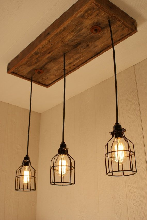Cage Light Chandelier With 3 Lights Lighting Edison Bulb Upcycled Wood
