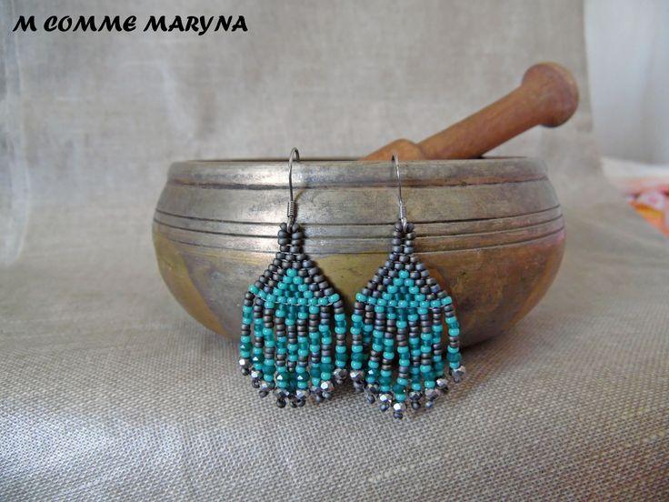 RÉSERVÉES !!! Mini modèle boucles d'oreilles perles Miyuki tissée main Bohostyle Bohemian Bohochic indien huichol : Boucles d'oreille par m-comme-maryna
