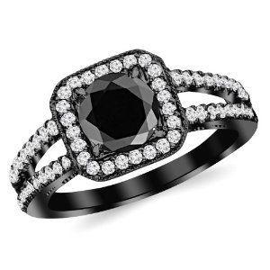 #splitshankhalo #blackdiamondengagementrings 1.47 Carat 14K Black Gold Designer Split Shank Halo Style With Milgrain Diamond Engagement Ring with a 1 Carat Black Diamond Center (Heirloom Quality) by Houston Diamond District - See more at: http://blackdiamondgemstone.com/jewelry/wedding-anniversary/engagement-rings/147-carat-14k-black-gold-designer-split-shank-halo-style-with-milgrain-diamond-engagement-ring-with-a-1-carat-black-diamond-center-heirloom-quality-com/#!prettyPhoto
