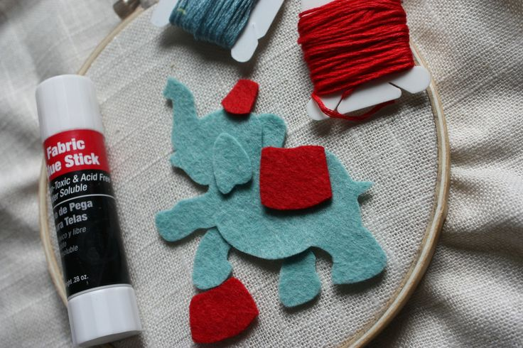 INSPIRATION: E IS FOR ELEPHANT (with a circus background)  Felt embroidery tutorial