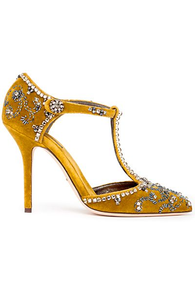 Dolce & Gabbana Yellow Gold T-Strap Ankle Strap Pumps D&G Fall 2014 #Shoes #Heels