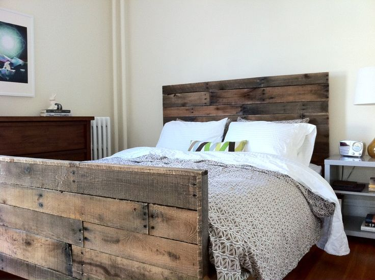 Bedframe - probably could be made out of reclaimed pallets or just have wood cut to ...