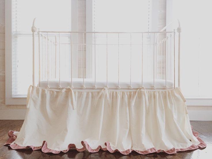 Cinderella Ruffled Crib Skirt Separates - Ivory Crib Skirt with Blush Ruffles - Crib Skirt Separates by highcottontextile on Etsy https://www.etsy.com/listing/235867262/cinderella-ruffled-crib-skirt-separates