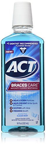 ACT Braces Care Ant-Cavity Fluoride Mouthwash, Clean Mint, 18 Ounce
