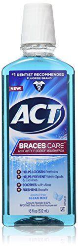 ACT Braces Care Ant-Cavity Fluoride Mouthwash, Clean Mint, 18 Ounce