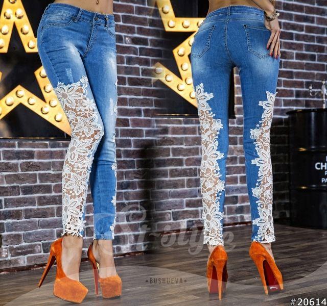Одежда Модные женские джинсы голубые комбинированные с кружевом