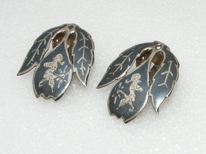 Vintage Siam Sterling Silver clip on EARRINGS