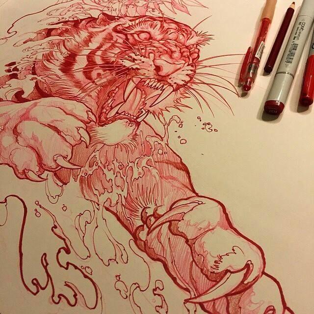 Tiger tattoo de Elvin tattoo
