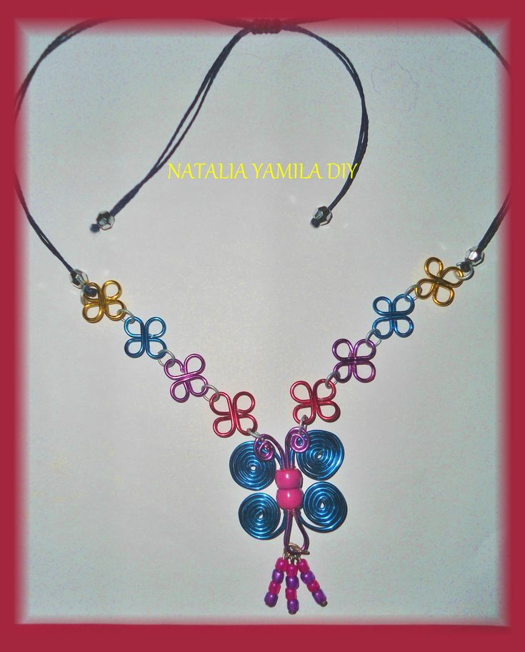 collar necklace wire alambre aluminio mariposa butterfly