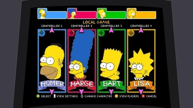 The Simpsons | 12 Classic Character Select Screens To Make You Long For The Arcade