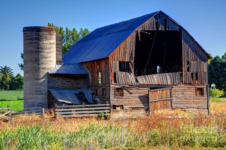 Old Texas Barns for Sale   Old Barn With Concrete Grain Silo - Utah Photograph - Old Barn With ...