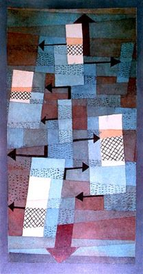 Tower in Orange and Green, 1922. Paul Klee is stimulated by the Bauhaus, in which he's recently become involved. He's entrusted with theoretical courses and pictorial composition. in charge of theoretical. He takes interest in notions of equilibrium. he draws upon and studies the las of physics, and transposes them into his painting, creating 'mini dramas' with unstable balances, in which balances is constantly disrupted and reasserted. He often uses arrows to describe these tensions.