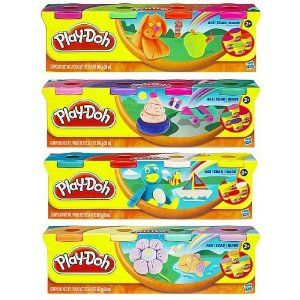 Hasbro Play-Doh Classic 4 Pack by Hasbro. $3.49. Includes four 5-ounce cans of PLAY-DOH in assorted colors. Safe and Non toxic Colors may vary from photo and description. Everybody can remember having PLAY-DOH in their little hands molding what ever was on their little minds. This 4-pack is ready for you to shape and mold all of your minds creations! Start molding right out of the can, or squish the colors together to make new ones. PLAY-DOH has been a favorite for generatio...