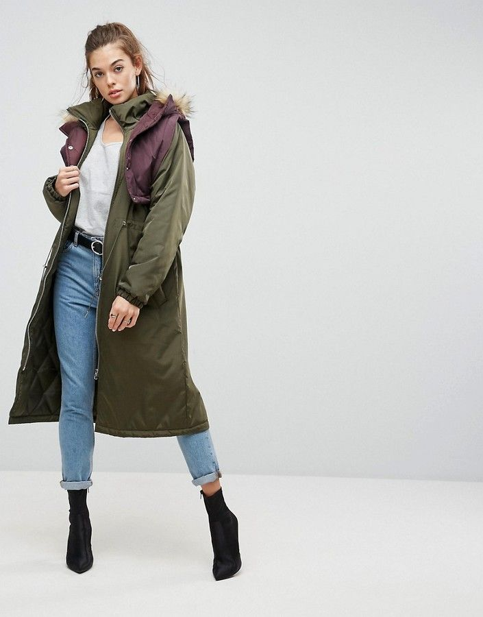 Winter Outfit Ideas. White top + retro inspired jeans + padded hybrid parka + ankle boots. Winter Outfit   Winter Essentials   What to Wear   Winter Season   Winter coat   parka via http://hershoppinglists.com/ #shopstyle #affiliate #winter