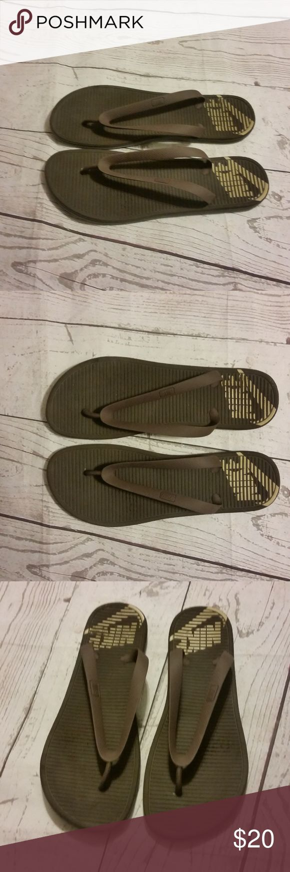 Nike Mens Flip Flop Sandals Size 15 Brown Gently used Nike Mens Sandals Flip Flops Rubber Soles Brown Great for the pool, beach, etc.  Trusted Seller. Fast shipping.  Please check out my other listings. Items being added daily. Thanks for stopping in!  Posh By Design Nike Shoes Sandals & Flip-Flops