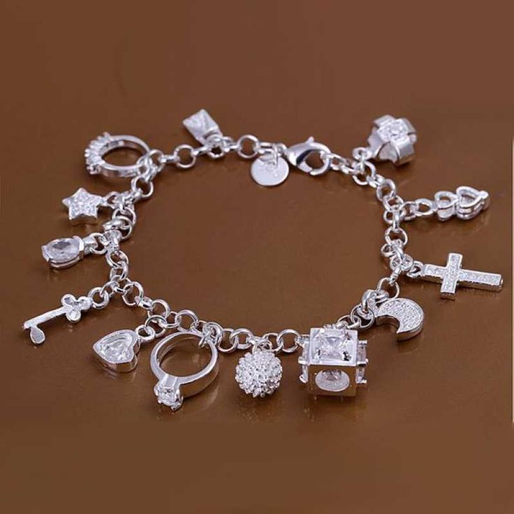 Free shipping 925 sterling silver jewelry bracelet fine fashion 13 charm bracelet top quality wholesale and retail SMTH144-in Chain & Link Bracelets from Jewelry on Aliexpress.com