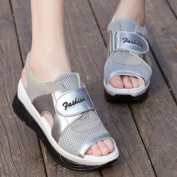 Women Summer Chic Wedge Sandals Hook Loop Color Match Mesh Breathable Sandals