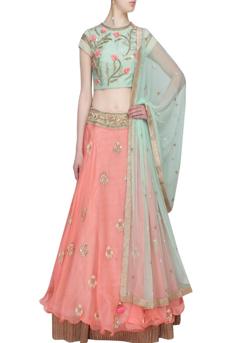 """Peach """"Pastel Perfection"""" 3D floral embroidered lehenga and peach blouse set - Yashodhara"""