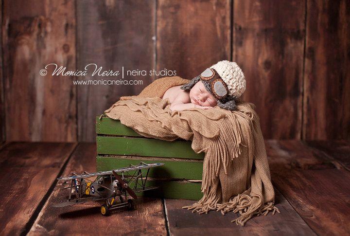 baby pilot hat-newborn aviator hat-chinstrap hat-earflap hat-crochet knit hat-newborn photo prop, via Etsy.