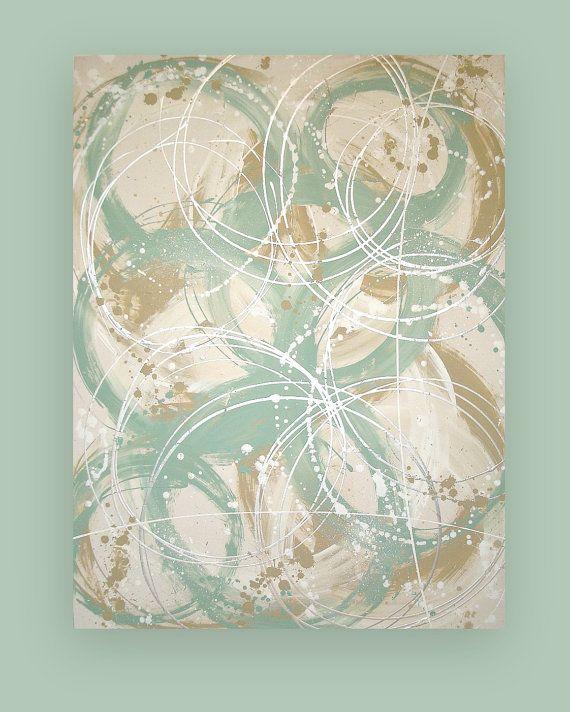 Shabby Chic Beach Abstract Acrylic Original by OraBirenbaumArt, $485.00