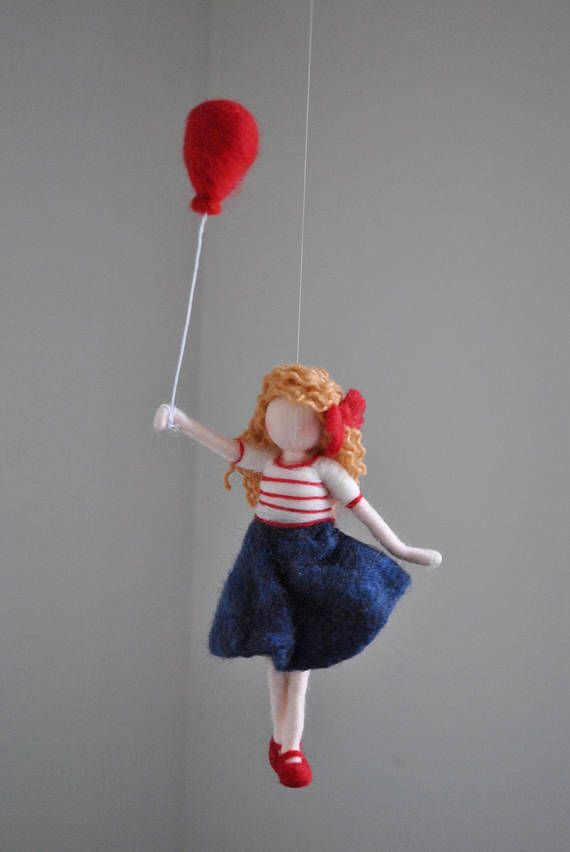 Girls Room Decoration Needle Felted wall hanging doll : Girl